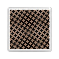 Houndstooth2 Black Marble & Brown Colored Pencil Memory Card Reader (square)