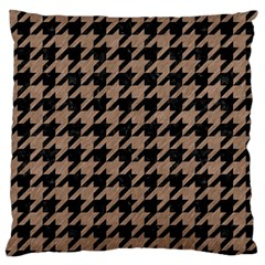 Houndstooth1 Black Marble & Brown Colored Pencil Large Flano Cushion Case (one Side)
