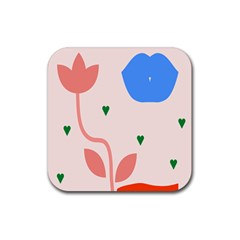 Lip Sexy Flower Tulip Heart Pink Red Blue Green Love Rubber Square Coaster (4 Pack)