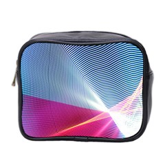 Light Means Net Pink Rainbow Waves Wave Chevron Red Mini Toiletries Bag 2 Side