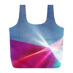 Light Means Net Pink Rainbow Waves Wave Chevron Red Full Print Recycle Bags (l)