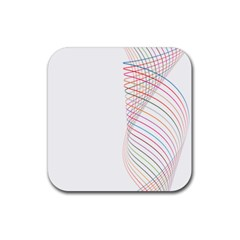 Line Wave Rainbow Rubber Square Coaster (4 Pack)