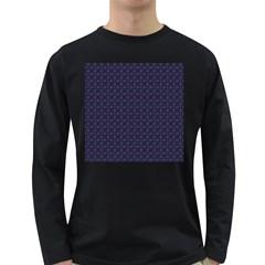 Purple Floral Seamless Pattern Flower Circle Star Long Sleeve Dark T Shirts