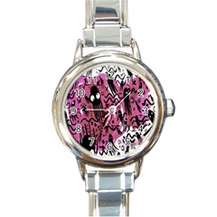 Octopus Colorful Cartoon Octopuses Pattern Black Pink Round Italian Charm Watch