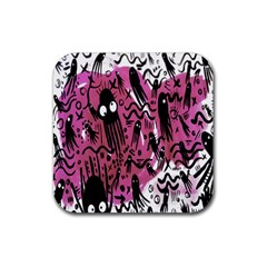Octopus Colorful Cartoon Octopuses Pattern Black Pink Rubber Square Coaster (4 Pack)