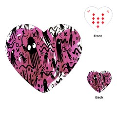 Octopus Colorful Cartoon Octopuses Pattern Black Pink Playing Cards (heart)