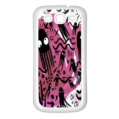 Octopus Colorful Cartoon Octopuses Pattern Black Pink Samsung Galaxy S3 Back Case (white)