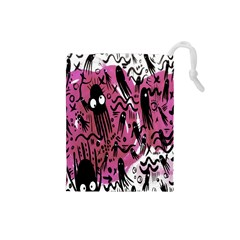 Octopus Colorful Cartoon Octopuses Pattern Black Pink Drawstring Pouches (small)