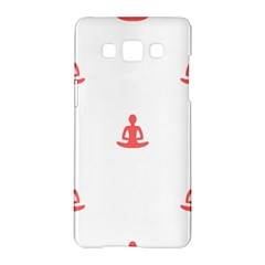 Seamless Pattern Man Meditating Yoga Orange Red Silhouette White Samsung Galaxy A5 Hardshell Case