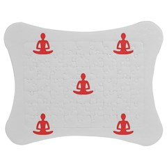 Seamless Pattern Man Meditating Yoga Orange Red Silhouette White Jigsaw Puzzle Photo Stand (bow)