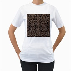 Damask2 Black Marble & Brown Colored Pencil Women s T Shirt (white)