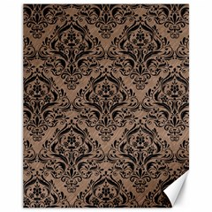 Damask1 Black Marble & Brown Colored Pencil (r) Canvas 11  X 14