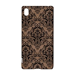 Damask1 Black Marble & Brown Colored Pencil (r) Sony Xperia Z3+ Hardshell Case