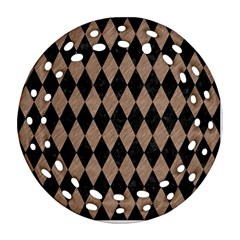 Diamond1 Black Marble & Brown Colored Pencil Round Filigree Ornament (two Sides)