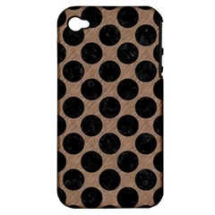 Circles2 Black Marble & Brown Colored Pencil (r) Apple Iphone 4/4s Hardshell Case (pc+silicone)