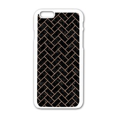 Brick2 Black Marble & Brown Colored Pencil Apple Iphone 6/6s White Enamel Case