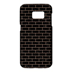 Brick1 Black Marble & Brown Colored Pencil Samsung Galaxy S7 Hardshell Case