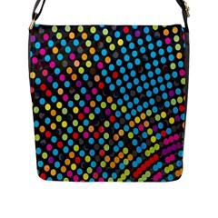 Polkadot Rainbow Colorful Polka Circle Line Light Flap Messenger Bag (l)