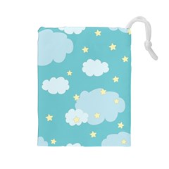 Stellar Cloud Blue Sky Star Drawstring Pouches (large)