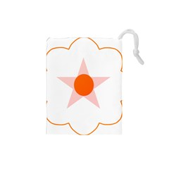 Test Flower Star Circle Orange Drawstring Pouches (small)