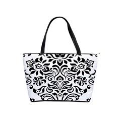 Vintage Damask Black Flower Shoulder Handbags