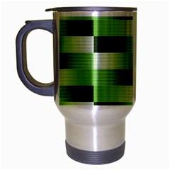 View Original Pinstripes Green Shapes Shades Travel Mug (silver Gray)