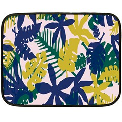 Tropics Leaf Yellow Green Blue Fleece Blanket (mini)