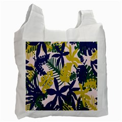 Tropics Leaf Yellow Green Blue Recycle Bag (one Side)