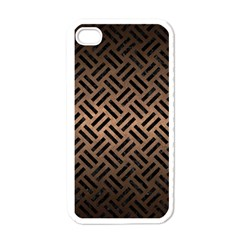Woven2 Black Marble & Bronze Metal (r) Apple Iphone 4 Case (white)