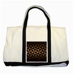 TRIANGLE1 BLACK MARBLE & BRONZE METAL Two Tone Tote Bag Front
