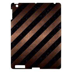 Stripes3 Black Marble & Bronze Metal Apple Ipad 3/4 Hardshell Case