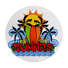 Tropical Summer Round Ornament (two Sides)