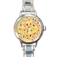 Summer Pattern Round Italian Charm Watch
