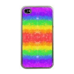 Striped Painted Rainbow Apple iPhone 4 Case (Clear)
