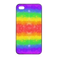 Striped Painted Rainbow Apple iPhone 4/4s Seamless Case (Black)