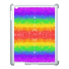 Striped Painted Rainbow Apple iPad 3/4 Case (White)