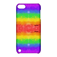 Striped Painted Rainbow Apple iPod Touch 5 Hardshell Case with Stand