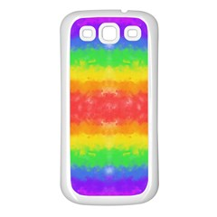 Striped Painted Rainbow Samsung Galaxy S3 Back Case (White)
