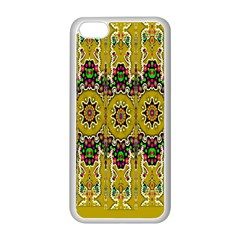Rainbow And Stars Coming Down In Calm  Peace Apple Iphone 5c Seamless Case (white)
