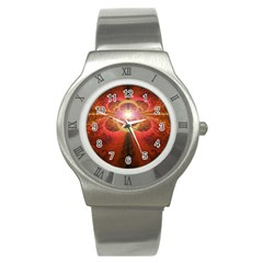 Liquid Sunset, A Beautiful Fractal Burst Of Fiery Colors Stainless Steel Watch