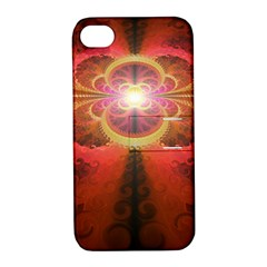 Liquid Sunset, A Beautiful Fractal Burst Of Fiery Colors Apple Iphone 4/4s Hardshell Case With Stand