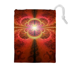 Liquid Sunset, A Beautiful Fractal Burst Of Fiery Colors Drawstring Pouches (extra Large)