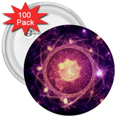A Gold And Royal Purple Fractal Map Of The Stars 3  Buttons (100 Pack)