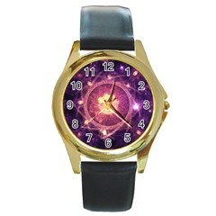 A Gold And Royal Purple Fractal Map Of The Stars Round Gold Metal Watch
