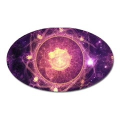 A Gold And Royal Purple Fractal Map Of The Stars Oval Magnet