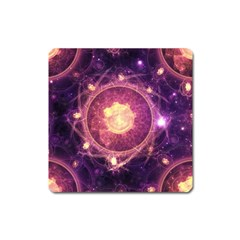 A Gold And Royal Purple Fractal Map Of The Stars Square Magnet
