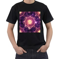 A Gold And Royal Purple Fractal Map Of The Stars Men s T Shirt (black) (two Sided)