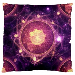 A Gold And Royal Purple Fractal Map Of The Stars Large Cushion Case (two Sides)