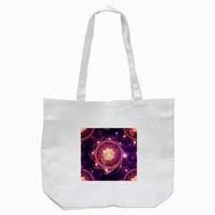 A Gold And Royal Purple Fractal Map Of The Stars Tote Bag (white)