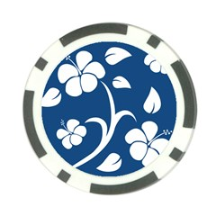 Blue Hawaiian Flower Floral Poker Chip Card Guard (10 Pack)